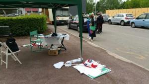 il gazebo intatto della Lega Nord